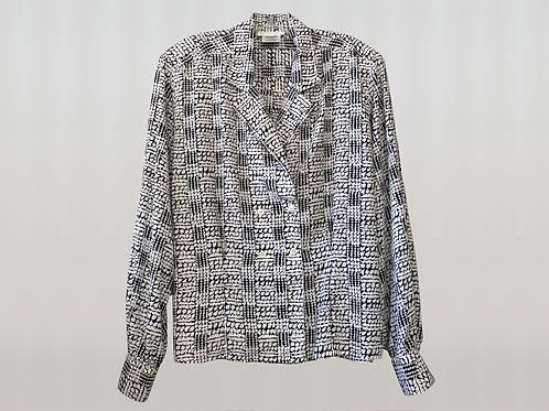 CHRISTIAN DIOR 1980's Abstract Double Breast Blouse
