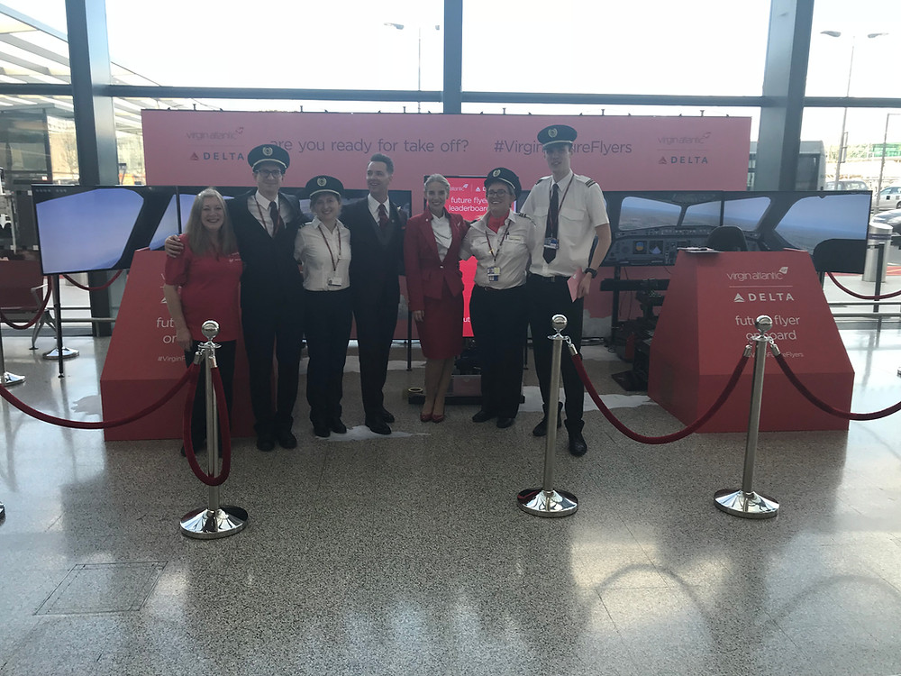 Flight simulator hire - PSW Events team up with Virgin Atlantic at Heathrow departures. A landing scenario in an A330 Airbus was set to test the travellers in the lounge.