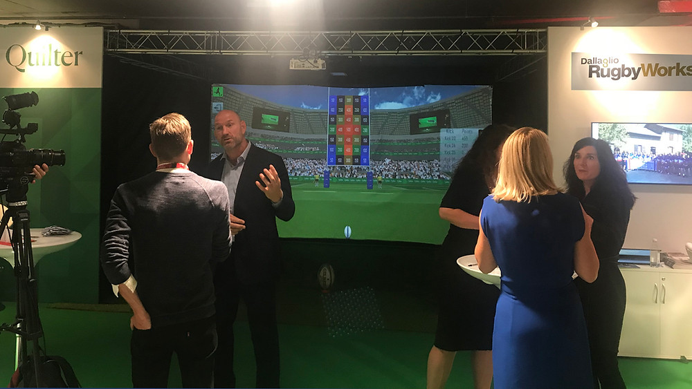 Quilter and rugby Works event with the Rugby Simulator