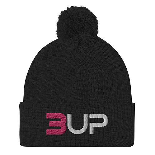 Pom Pom Knit Cap (Black-Pink-White)
