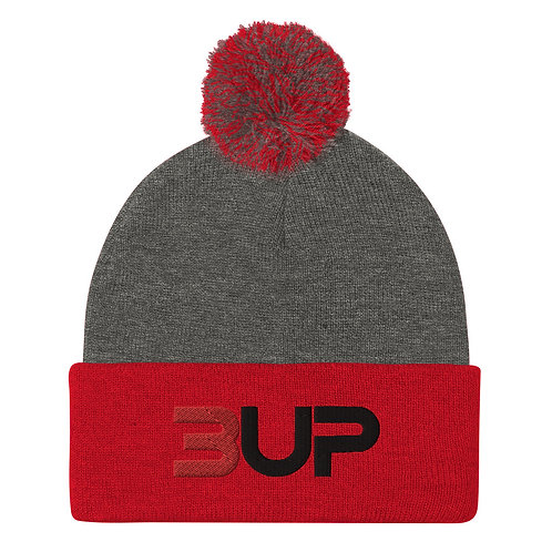 Pom Pom Knit Cap (Dark Heather Grey-Red)