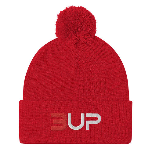 Pom Pom Knit Cap (Red-White)