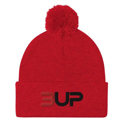 Pom Pom Knit Cap (Red)