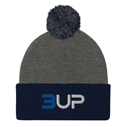 Pom Pom Knit Cap (Dark Heather Grey-Navy)
