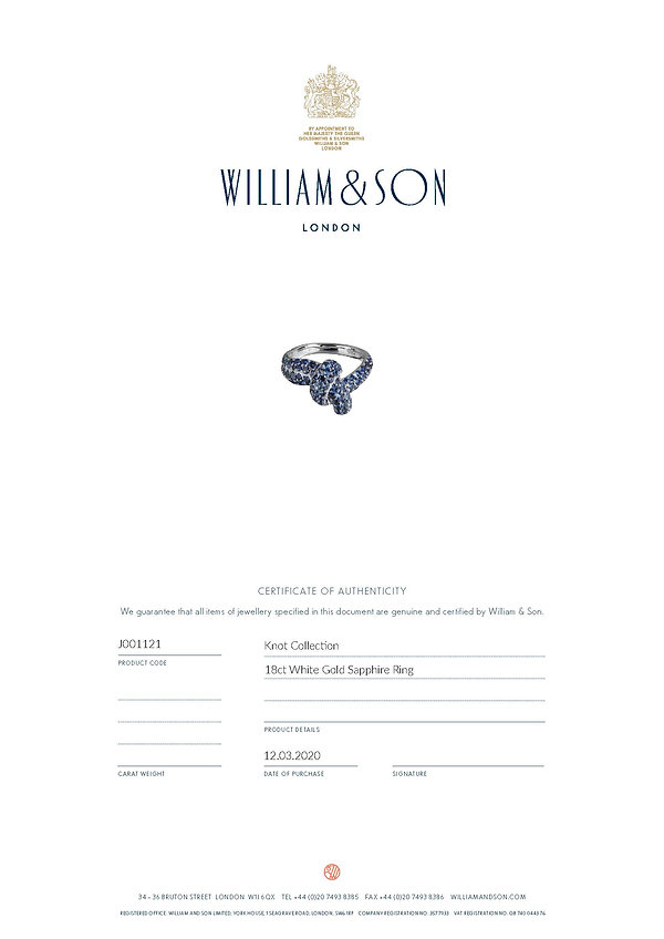 Jewellery Certificate Sapphire Knot Ring