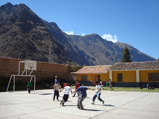 Peruvian children playing soccer