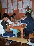 Quechua students hard at work with their studies