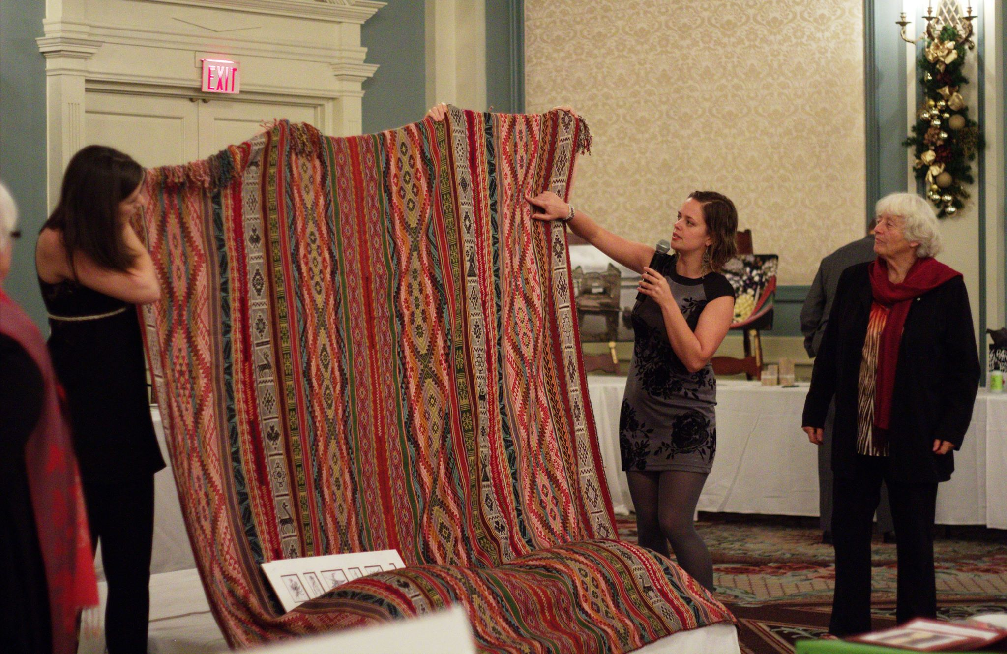 Ashli explaining designs on blanket