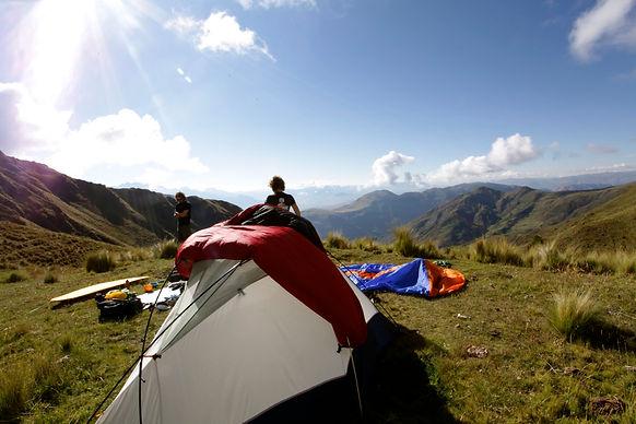 Tent setup on a mountaintop