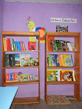 Bookshelves filled with books at the Q'enqo Library