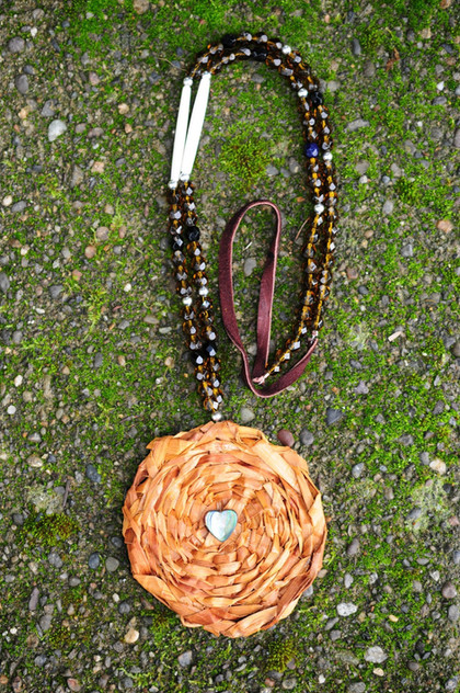 Cedar Medallion with Brown beads