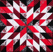 Coast Salish, Black, Red, White Starburst Quilt