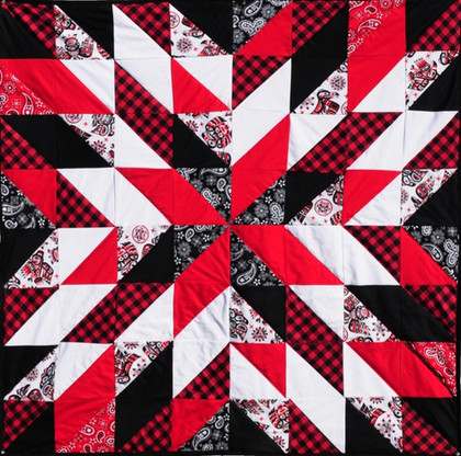 Coast Salish, Black, Red, White Starburst Quilt