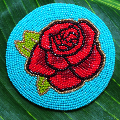 Turquoise and Red Rose Beaded Medallion