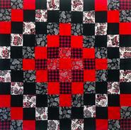Checkered Coast Salish, Black, White, Red Quilt