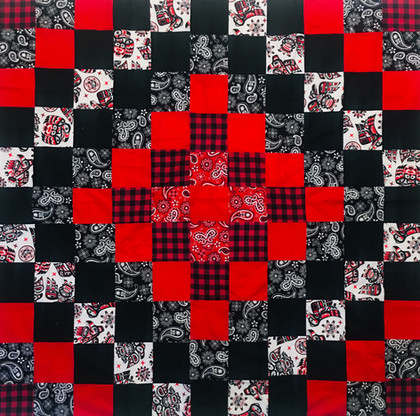 Checkered Coast Salish, Black, White, Red Quilt