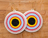 Seed beaded Circle Earrings, Black, Yellow, Red, Blue