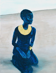 Blue Woman with Gold
