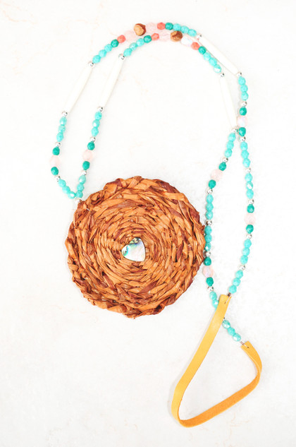 Cedar medallion with Turquise beads