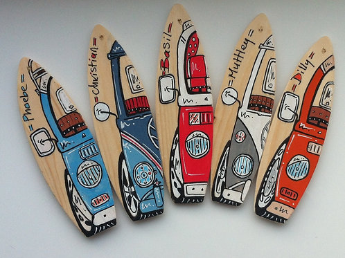 Set of Five Mini Wooden Surfboard  Mirror Hangers - customised