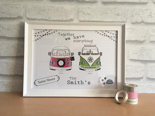 Wedding Camper Van & Beetle Personalised A4 & A3 Print -Customised