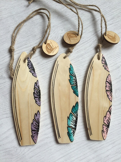 Set Of Three Mini Wooden Surfboard With Flower Artwork