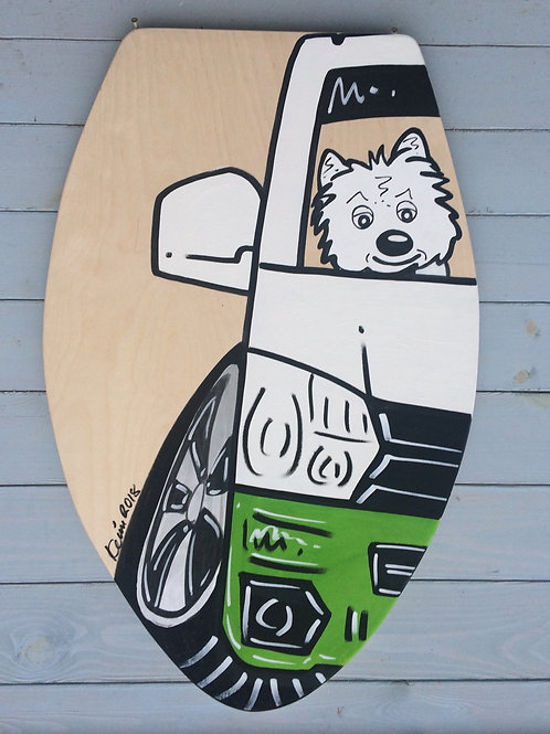 Skim Board Table Top 15mm Thick Birch Plywood  -Half A Vehicle - Dog/Character