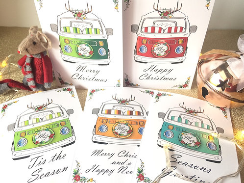 Bay Window Camper Van Christmas Cards Pack of 5 Customised