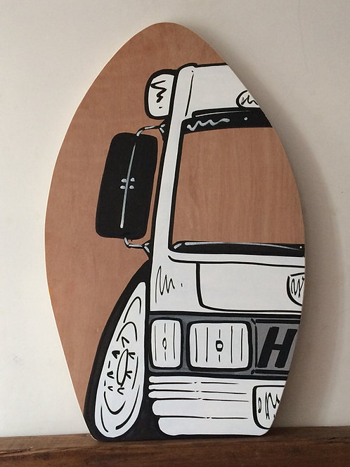 Skim Board Table Top 15mm Thick Birch Plywood  -Half A Vehicle with Text