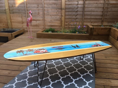Surfboard coffee table with hair pin legs