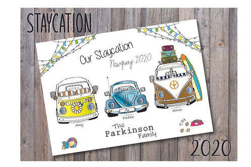 Staycation Print Camper Van & Beetle Personalised A4 & A3 Print -Customised