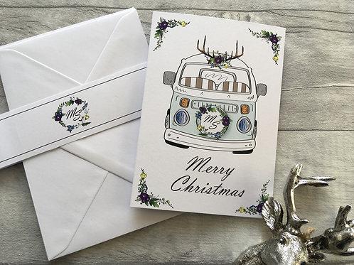 Blue Christmas Rose Bay Window Camper Van Christmas Cards Pack of 5 Customised