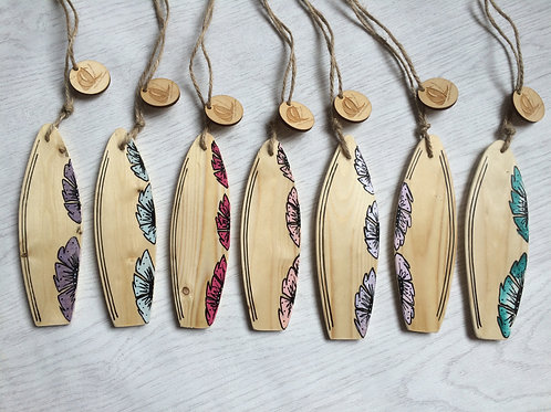 Set Of Ten Mini Wooden Surfboard With Flower Artwork