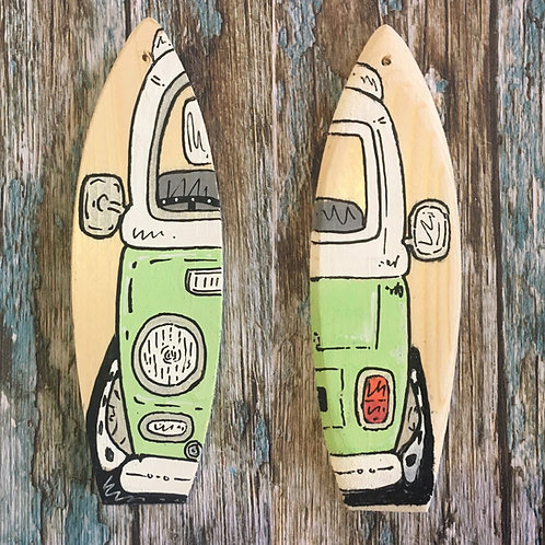 Double Sided Mini Wooden Surfboard -Custom Made