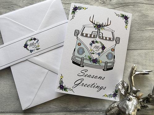 Blue Christmas Split Screen Camper Van Christmas Cards Pack of 5 customAssorted