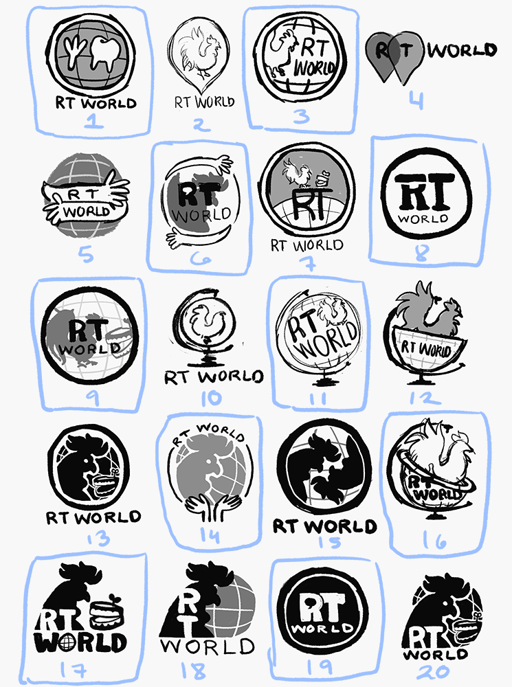 RT World Logo Sketches