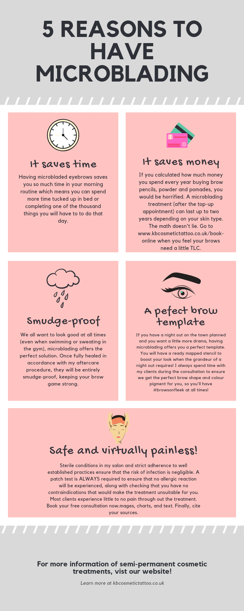 5 Reasons to have microblading infographic, Microblading Norwich, Microbladed Eyebrows, Microblading near me, Norfolk, KB Cosmetic Tattoo