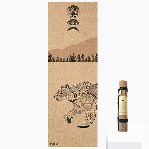 Night Bear Cork Yoga Mat by Scoria | 3.5mm