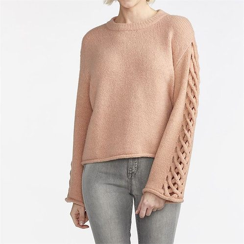 Charming Braided Sleeve Pullover