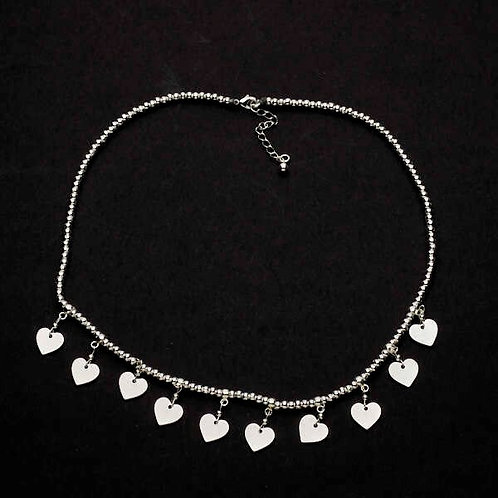 Short Charm Necklace With Drop Hearts in Silver Plate