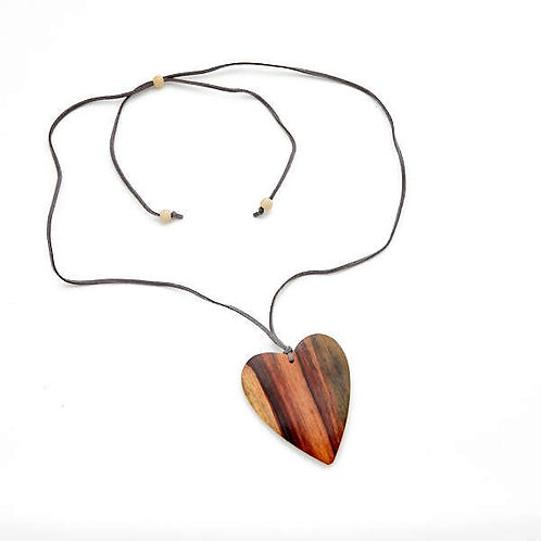 Natural Wooden Heart Necklace