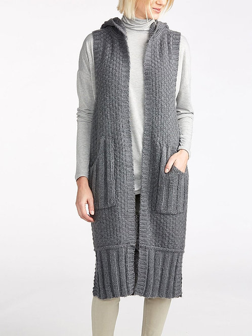 Cable Knit Hooded Sweater Vest