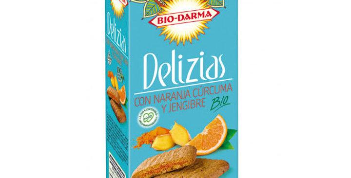 Galletas Delizias con naranja, cúrcuma y jengibre 125 gr