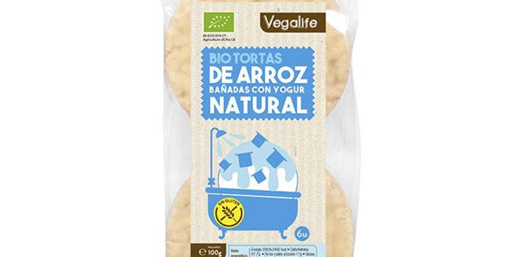 Bio Tortas de arroz bañadas con yogur natural Vegalife 100 gr.