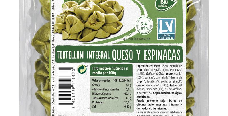 Tortelloni  con queso y espinacas, Natursoy 250 gr