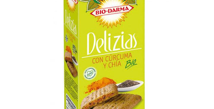 Galletas Delizias con cúrcuma y chía 125 gr.