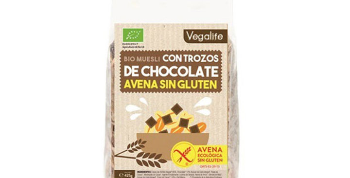 Muesli de avena y chocolate sin gluten 425 gr.