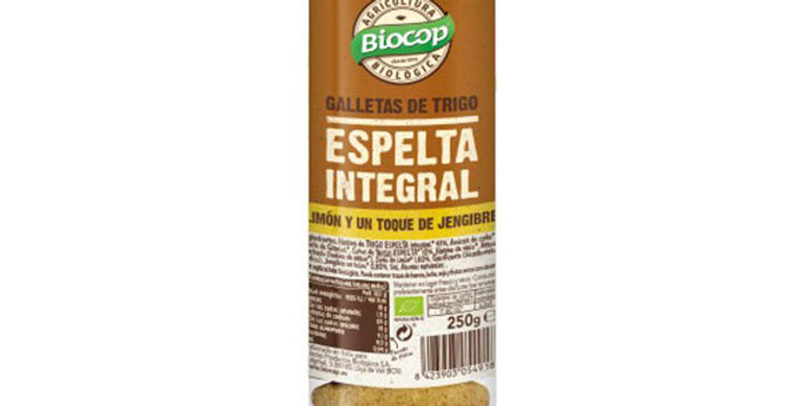 Galleta de trigo espelta integral con limón y jengibre Biocop 250 g