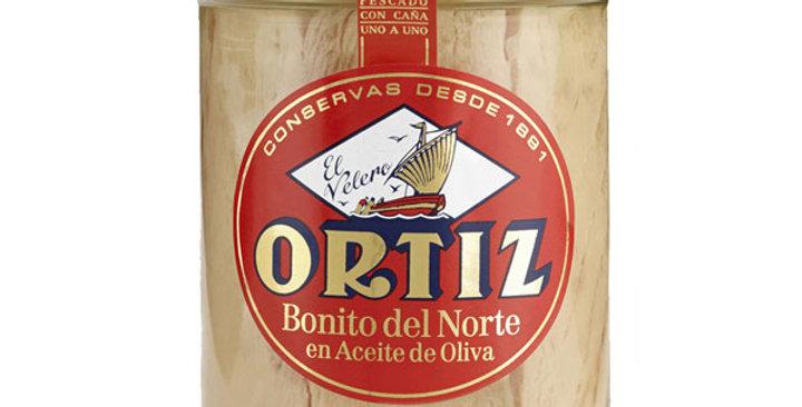 Bonito del Norte en Aceite de Oliva Tarro de Cristal, Ortiz 220 Gr.