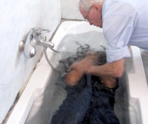 Baptism in a bathtub